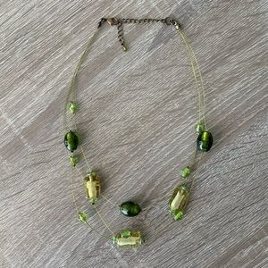 Multi strand Green Glass Bead Necklace
